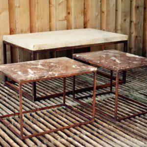 TABLES BASSES Fer & Marbre